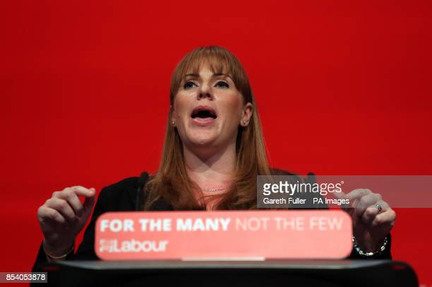 Angela Rayner Shadow Education Secretary addressing the Labour Party annual conference at the Brighton Centre Brighton