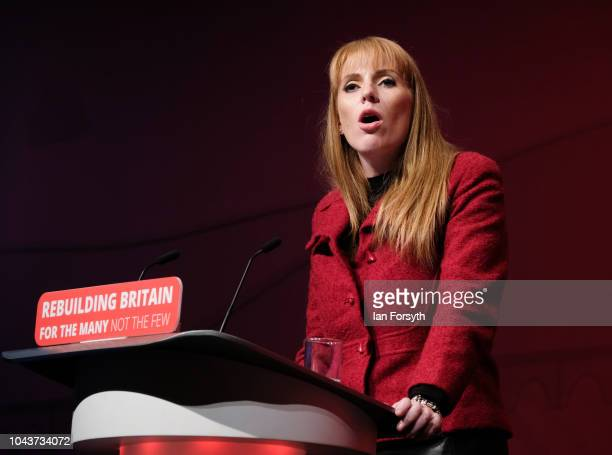 Angela Rayner Shadow Secretary of State for Education addresses delegates on day two of the Labour Party Conference on September 24 2018 in Liverpool...
