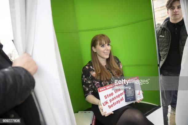 Angela Rayner shadow secretary of state for education for the UK opposition Labour Party poses in a photo booth to highlight her opposition to the...