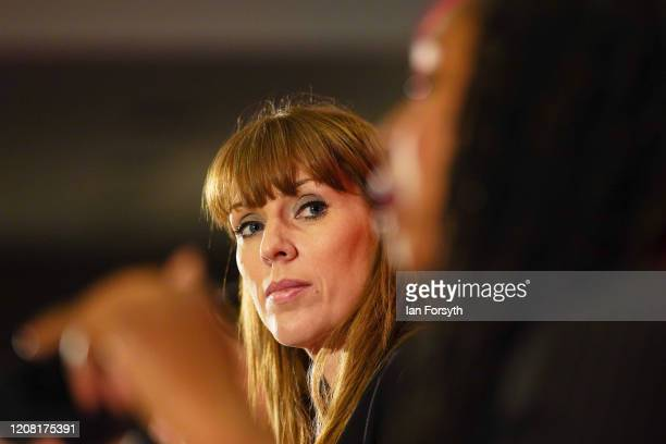 Angela Rayner Shadow Secretary of State for Education listens to other candidates during the Labour Party Deputy Leadership hustings at the Radisson...