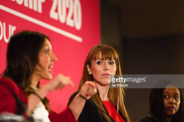 Angela Rayner Shadow Secretary of State for Education looks on as Dr Rosena AllinKhan MP for Tooting speaks during the Labour Party Deputy Leadership...