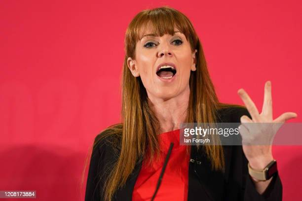 Angela Rayner Shadow Secretary of State for Education speaks to the audience during the Labour Party Deputy Leadership hustings at the Radisson Blu...