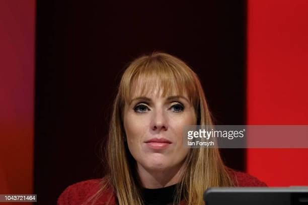 Angela Rayner Shadow Secretary of State for Education waits to deliver a speech to delegates on day two of the Labour Party Conference on September...