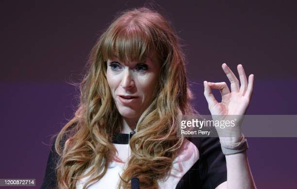 Angela Rayner speaking at the Labour Party deputy leadership hustings on the stage at SEC in Glasgow on February 15 2020 in Glasgow Scotland Ian...