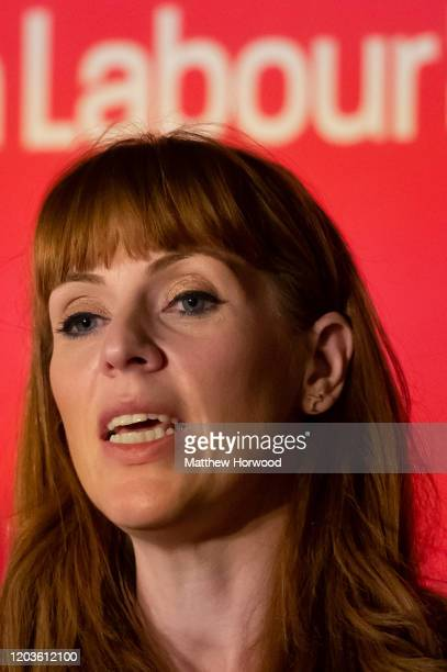 Angela Rayner speaks at the Labour Leadership Hustings at Cardiff City Hall on February 2 2020 in Cardiff Wales Angela Rayner MP for AshtonunderLyne...
