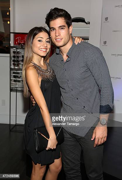 Angela Rincon and Danilo Carrera pose at Studio LX during the clothing launch of Chiquinquira Delgado in collaboration with David Lerner on May 7...