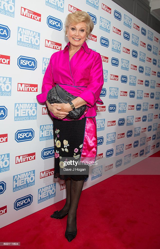 Angela Rippon arrives for Daily Mirror and RSPCA Animal Hero Awards at Grosvenor House, on September 7, 2016 in London, England.