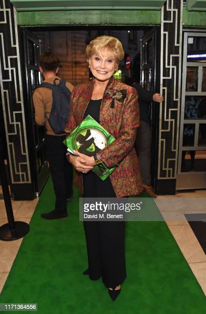 """Angela Rippon attends as hit musical """"Wicked"""" celebrates 13 years at London's Apollo Victoria Theatre on September 26, 2019 in London, England."""