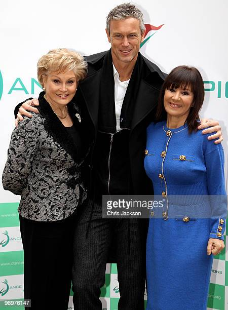 Angela Rippon Mark Foster and Arlene Philips pose for a photograph to launch the 'Dance Champions Dance Summit' at Haberdasher's Hall on February 23...