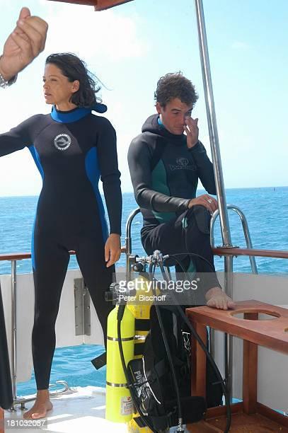 Angela Roy TauchCrewMitglied Dreharbeiten zum ZDFFilm 'Eine Mutter zum Geburtstag' Puerto Morelos/Mexico/Golf von Mexico/Mittelamerika MotorYacht...