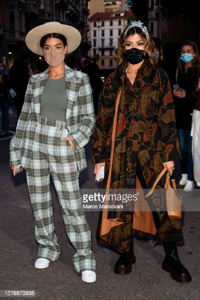 Angela Rozas Saiz and Aida Domenech are seen outside of Salvatore Ferragamo's fashion show during the Milan Women's Fashion Week on September 26 2020...