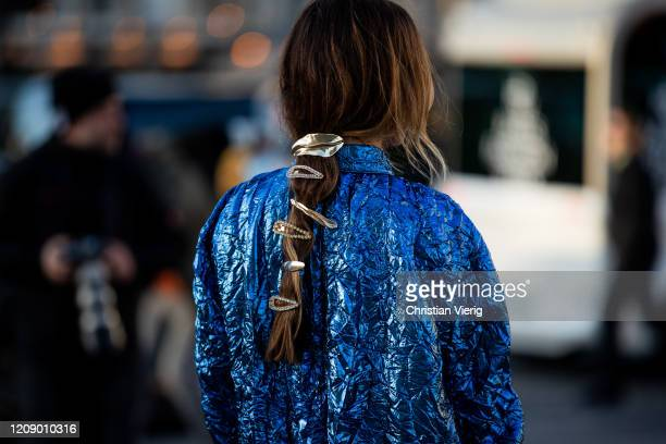 Angela Rozas Saiz is seen wearing hair clip bag outside Rochas during Paris Fashion Week Womenswear Fall/Winter 2020/2021 Day Three on February 26...