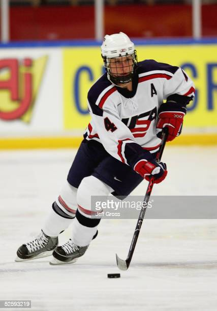 Angela Ruggiero of team USA handles the puck against team Germany in a IIHF World Women's Championships preliminary game at the Cloetta Center on...