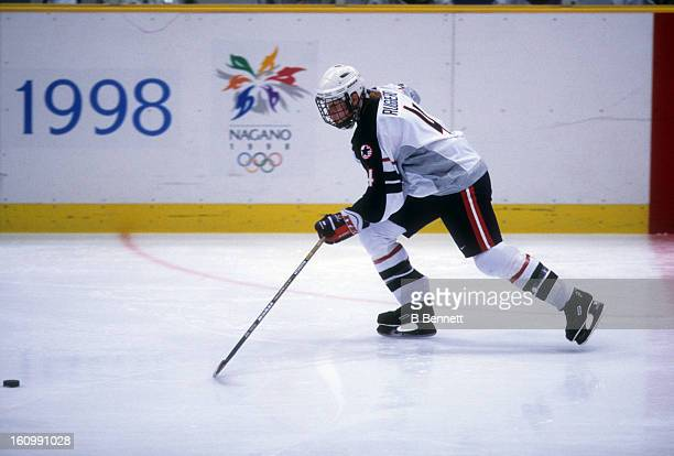 Angela Ruggiero of Team USA skates on the ice during the women's first round match at the 1998 Nagano Winter Olympics in February, 1998 at the Aqua...