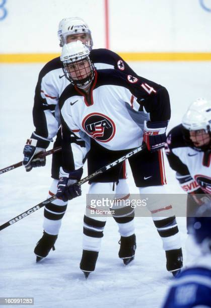 Angela Ruggiero of Team USA waits for the face-off during the women's first round match against Team Finland at the 1998 Nagano Winter Olympics on...
