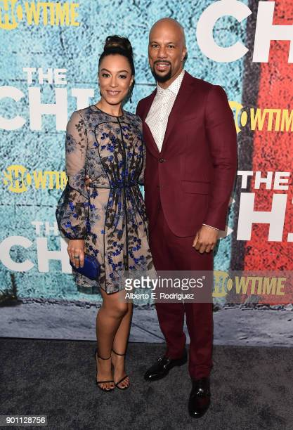 Angela Rye and executive producer Common attend the premiere of Showtime's 'The Chi' at The Downtown Independent on January 3 2018 in Los Angeles...