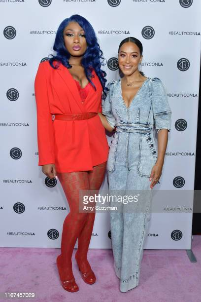 Angela Rye and Megan Thee Stallion attend Beautycon Festival Los Angeles 2019 at Los Angeles Convention Center on August 11 2019 in Los Angeles...