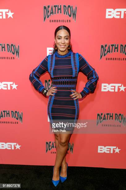 Angela Rye arrives at an event where BET NETWORKS Hosts an Exclusive Dinner Performance for upcoming docuseries 'Death Row Chronicles' about the rise...
