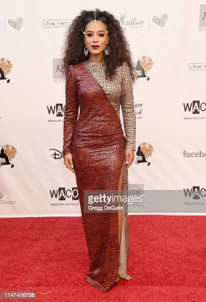 Angela Rye arrives at the WACO Theater Center's 3rd Annual Wearable Art Gala at The Barker Hangar at Santa Monica Airport on June 1 2019 in Santa...