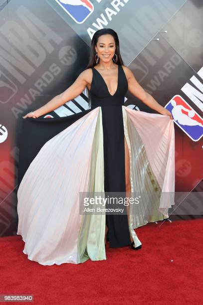 Angela Rye attends the 2018 NBA Awards Show at Barker Hangar on June 25 2018 in Santa Monica California