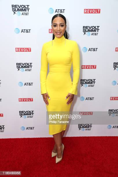 Angela Rye attends the REVOLT X ATT 3Day Summit In Los Angeles Day 1 at Magic Box on October 25 2019 in Los Angeles California