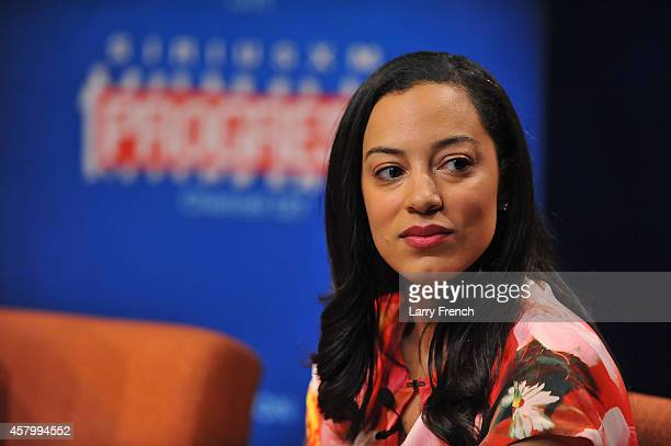 Angela Rye founder and Director of Impact Strategies appears on SiriusXM's The Agenda Presents Women Decide on October 28 2014 in Washington DC