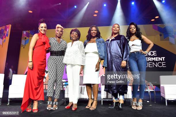 Angela Rye Mary J Blige Maxine Waters Alencia Johnson Queen Latifah and Remy Ma pose onstage during the 2018 Essence Festival presented by CocaCola...