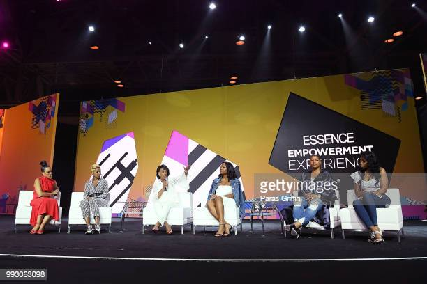 Angela Rye Mary J Blige Maxine Waters Alencia Johnson Queen Latifah and Remy Ma speak onstage during the 2018 Essence Festival presented by CocaCola...