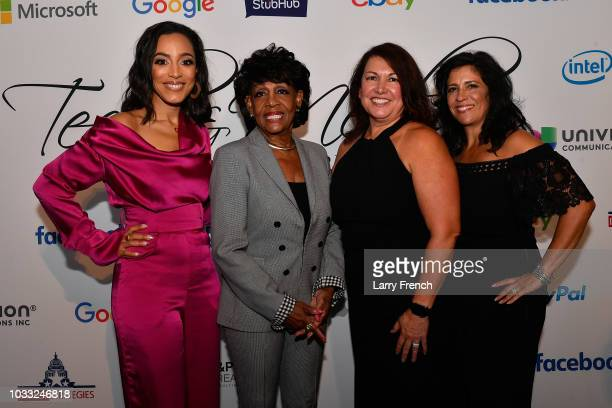 Angela Rye Rep Maxine Waters Ingrid Duran and Catherine Pino appear at IMPACT Strategies and DP Creative Strategies Tech Media day party and brunch...