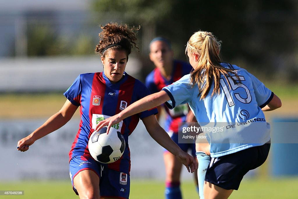 Angela Salem of the Jets controls the ball during the round five W-League match between the Newcastle Jets and Sydney FC at Magic Park on October 11, 2014 in Newcastle, Australia.