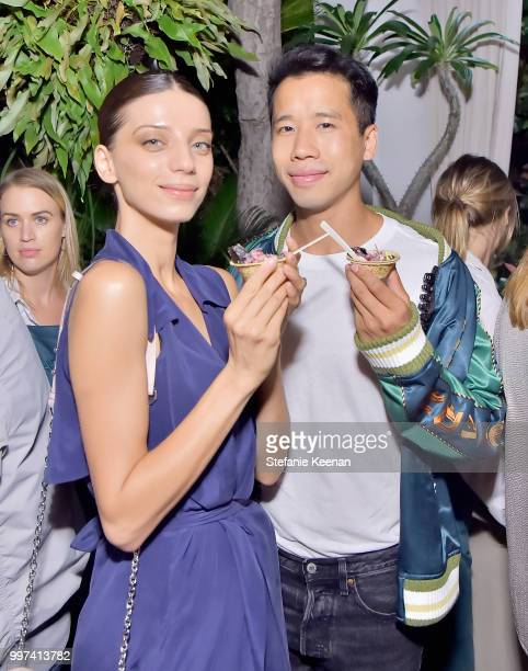 Angela Sarafyan and Jared Eng attend the launch of Farmacy Kitchen Cookbook hosted by Vegan/Plantbased Author Camilla Fayed Elizabeth Saltzman and...