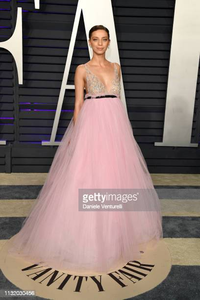Angela Sarafyan attends 2019 Vanity Fair Oscar Party Hosted By Radhika Jones Arrivals at Wallis Annenberg Center for the Performing Arts on February...