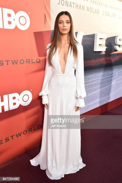 Angela Sarafyan attends the Los Angeles Season 2 premiere of the HBO Drama Series WESTWORLD at The Cinerama Dome on April 16 2018 in Los Angeles...