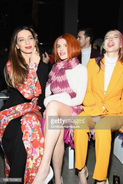 Angela Sarafyan Bella Thorne and Dani Thorne attend the Prabal Gurung front row during New York Fashion Week The Shows at Gallery I at Spring Studios...