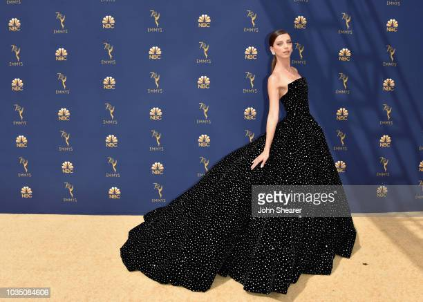 Angela Sarafyan fashion detail attends the 70th Emmy Awards at Microsoft Theater on September 17 2018 in Los Angeles California