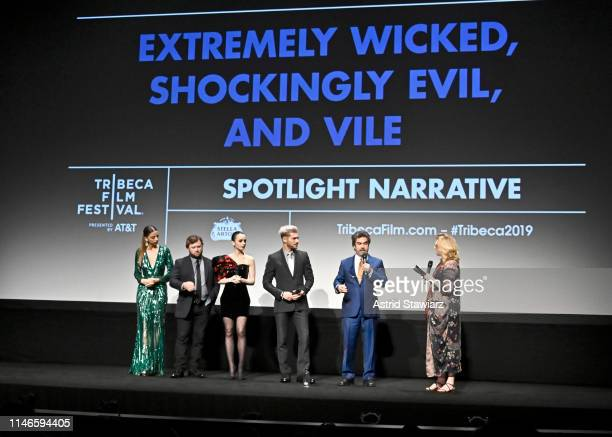 Angela Sarafyan, Haley Joel Osment, Lily Collins, Zac Efron, Director Joe Berlinger, and Cara Cusumano participate in the Q&A for Netflix's...