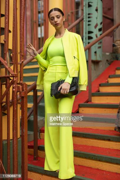 Angela Sarafyan is seen on the street during New York Fashion Week AW19 wearing Alice Olivia on February 11 2019 in New York City