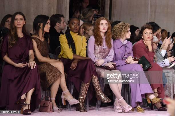 Angela Sarafyan, Julia Jones, Kiki Layne, Sadie Sink, Julia Garner and Maggie Gyllenhaal attend the Kate Spade Fashion show during New York Fashion...