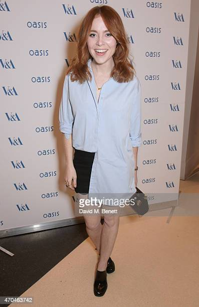 Angela Scanlon attends as Oasis and The Victoria and Albert Museum unveil their exclusive print inspired collection at The Victoria and Albert Museum...