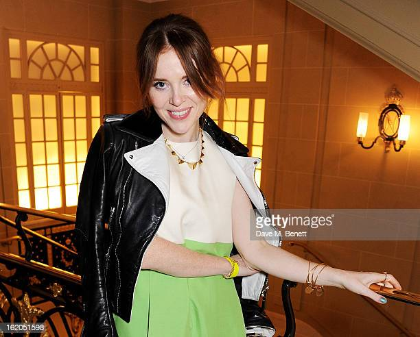 Angela Scanlon attends the AnOther Magazine and Dazed Confused party with Belvedere Vodka at the Cafe Royal hotel on February 18 2013 in London...