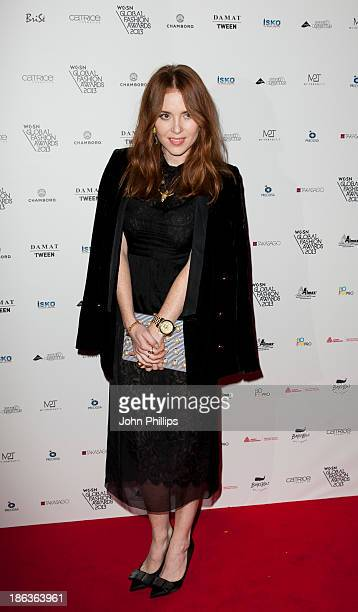 Angela Scanlon attends the WGSN Global Fahsion awards at Victoria Albert Museum on October 30 2013 in London England
