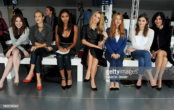 Angela Scanlon Polly Morgan Arlissa Annabelle Wallis Josephine de la Baume Amber Anderson Gemma Chan attend the front row at the Whistles show during...