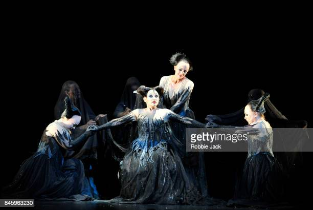 Angela Simkin as Second Lady Sabine Devieilhe as Queen of the Night Susan Platts as Third Lady and Rebecca Evans as First Lady in the Royal Opera's...