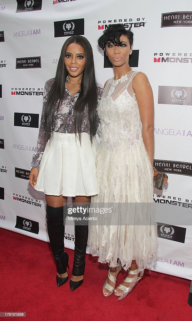Angela Simmons and Alisha Crutchfield attend the Angela I Am launch at Henri Bendel on July 31, 2013 in New York City.