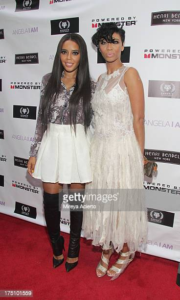 Angela Simmons and Alisha Crutchfield attend the Angela I Am launch at Henri Bendel on July 31 2013 in New York City