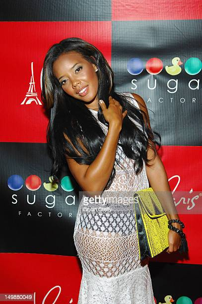 Angela Simmons and arrives at the Sugar Factory American Brasserie at the Paris Las Vegas on August 5 2012 in Las Vegas Nevada