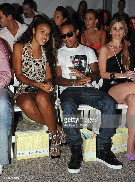 Angela Simmons and Bow Wow attend the Trina Turk 2011 fashion show during MercedesBenz Fashion Week Swim at the Raleigh on July 15 2010 in Miami...