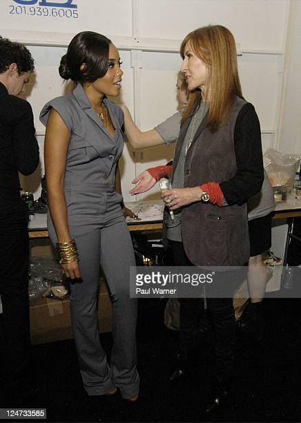 Angela Simmons and designer Nicole Miller backstage at the Nicole Miller Spring 2012 fashion show during MercedesBenz Fashion Week at The Studio at...