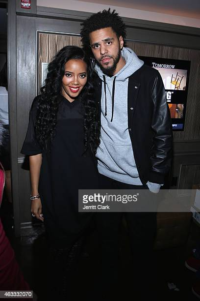Angela Simmons and J Cole attend ROC NATION SPORTS Rn 1st Annual Roc City Classic starring Kevin Durant x Kanye West on February 12 2015 in New York...