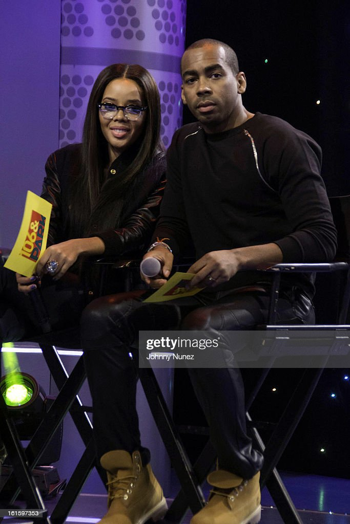 Angela Simmons and Jason Bolden visit BET's '106 & Park' at BET Studios on February 11, 2013 in New York City.